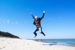 Jump! (~janne) Tags: woman beach water strand sand meer wasser europa europe poland polska playa menschen polen environment frau ostsee zuiko kamera omd natascha pl umwelt em1 gewsser 1240mm dziwnw wojewdztwozachodniopomorskie