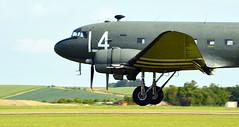 Skytrain (Snapshooter46) Tags: aircraft transport landing airshow douglas skytrain dc3 dakota cambridgeshire c47 iwmduxford touchingdown