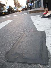 Fresh New Toynbee Tile Under Tar 2016 NYC 1239 (Brechtbug) Tags: street new york 2001 city nyc white streets west up june st by tile dead idea bars cross traffic walk manhattan under pedestrian pop fresh severino midtown made tiles ave planet ready commuter jupiter kubricks patch avenue toynbee named verna 6th tar crumbling 35th sevy possibly reclusive 2016 resurrect philadelphian 06142016