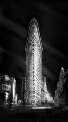 Spotlight on the Flatiron (LJP40) Tags: newyorkcity longexposure sky urban blackandwhite bw usa newyork monochrome skyline skyscraper mono blackwhite nikon monotone le flatiron ndfilter nikond700 juliaannagospodarou juliaannagospodarouworkshop