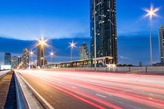 Taksin Bridge (Dr.Bullshit) Tags: longexposure bridge light sky car landscape asian thailand town twilight asia bangkok landmark thai land scape th bts