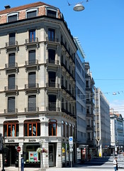 Old house on Geneva's streets (fabiankoppers) Tags: street old city blue houses windows shadow sky sun house streets building tower stone wall architecture switzerland day shine apartment flat geneva geometry balcony retro oldfashion shops