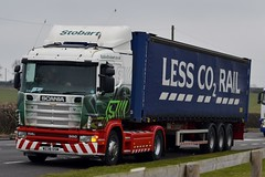 Stobart H006 W238 OSM Frankie A5 Rugby Truck Stop 18/3/16 (CraigPatrick24) Tags: road truck rugby cab transport frankie container lorry delivery vehicle trailer a5 scania logistics stobart eddiestobart stobartrail h006 skeletaltrailer stobartgroup w238osm rugbytruckstop scaniar114380