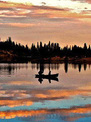 Canoeing in heaven (moonjazz) Tags: california sky lake color nature clouds photography evening high amazing twilight fishing perfect soft day peace dusk country paddle calm canoe adventure hidden alpine serenity meditation wilderness sierranevada bonding lakealpine