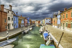 More Burano (Jenny dot com) Tags: colour sunshine buildings landscape boats bridges hdr stormclouds