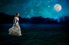 Camminando sotto le stelle (adrianaaprati) Tags: moon nature fog female fairytale night composition photoshop walking landscape women dress nocturnal dream surreal poetic luna dreaming fullmoon fairy cielo romantic conceptual magical notte composit notturno stelle composizione lunapiena surreallandscape starrysky cielostellato romanticgirl romanticportrait fairytaleinspired