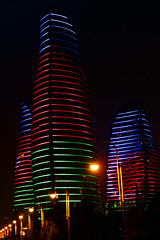 BAKU (Azerbaijan): The flame towers & the colours of the Flag (filippo.bonizzoni) Tags: building tower buildings towers baku azerbaijan flame grattacielo notte torri orre fiamme grattacieli flametowers