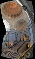 Interior of San Francisco City Hall (sjrankin) Tags: sanfrancisco california panorama northerncalifornia cityhall edited interior cupola rotunda hdr 1june2016