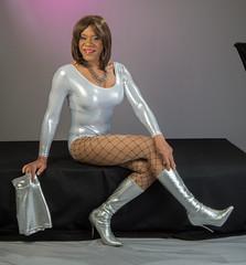 Leotard Leg Show! (kaceycd) Tags: boots s tgirl bodysuit stilettoheels pantyhose crossdress spandex lycra tg leotard stilettos kneeboots wetlook shinyboots stilettoboots fishnethose sexyboots vinylboots