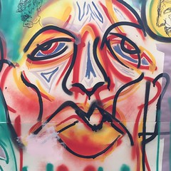 Collaboration close up (Krillinator) Tags: street red summer sun white black flower colour detail art face lines yellow illustration composition self work painting paper outside layout graffiti words student paint artist different hand bright personal drawing expression contemporary background text creative free vivid surreal style images spray illustrative line marks size illustrator draw outlines simple collaboration produced bold foreground individual 2016