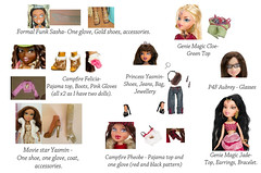 Can you help me find these items? (BratzCollector) Tags: felicia dolls phoebe jade sasha accessories yasmin mga aubrey bratz cloe