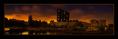 Suburbia (Kevin From Manchester) Tags: sunset sky panorama building water architecture clouds marina manchester canal waterfront northwest outdoor widescreen panoramic lancashire hdr towpath waterways rochdalecanal canon1855mm greatermanchester greatancoats kevinwalker canon1100d