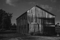 Featherbed Barn ( estatik ) Tags: county new old blackandwhite bw white black monochrome night barn photography long exposure nj monotone jersey weathered stockton frenchtown kingwood hunterdon
