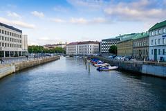 Canal through the city (Housemill) Tags: city blue water gteborg boats lumix canal panasonic pointandshoot kanal vatten bohusln bl btar stadsmilj lx5