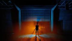Shutter (palateth) Tags: blue orange lightpainting silhouette night belgium belgique belgie smoke urbanexploration shutter ig urbex lightart