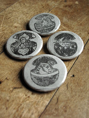 Magic Spheres art buttons, set of 4, now available on chronographia.etsy.com (chronographia) Tags: buttons pinbackbuttons badges witchbuttons etching intaglio printmaking etsy phoenix firebird moon leaf watch