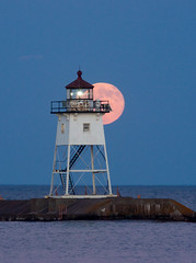 Summer Solstice moon over Grand Marais Light House (kayakattack06) Tags: lighthouse fullmoon northshore lakesuperior grandmarais