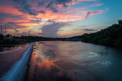 Sunset over Fairmount Dam (PhillymanPete) Tags: sunset summer sky philadelphia nature water clouds reflections river us waterfall nikon unitedstates pennsylvania philly fairmount artmuseum schuylkillriver d800e