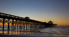 Folly Beach Pier (toddmwise) Tags: ocean bridge blue sunset sea summer sky orange sun reflection art beach sc water sunrise canon reflections photography hotel evening bay pier fishing dock sand flickr waves south southcarolina wideangle explore rest folly tides seagrass lowcountry canon6d