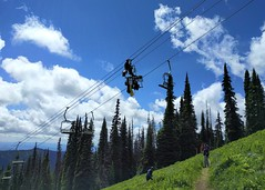 Walking the line (Ruth and Dave) Tags: mountain high workers hiking meadow trail alpine crew maintenance suspended dangling chairlift sunpeaks maintenanceworkers crystalchair sunpeaksresort todmountain