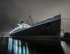 RMS Queen Mary (ATOM1_Productions) Tags: ocean history night vintage reflections la losangeles dock lowlight ship nocturnal sony mary wideangle noflash historic queen longbeach nightscene rms cruiseliner longo nightshooter sonya7ii