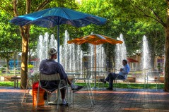 Let's Do This (KC Mike D.) Tags: crowncenter fountain water heat humidity sun sunshine shade men sitting chairs umbrella bucket brick stone pavement