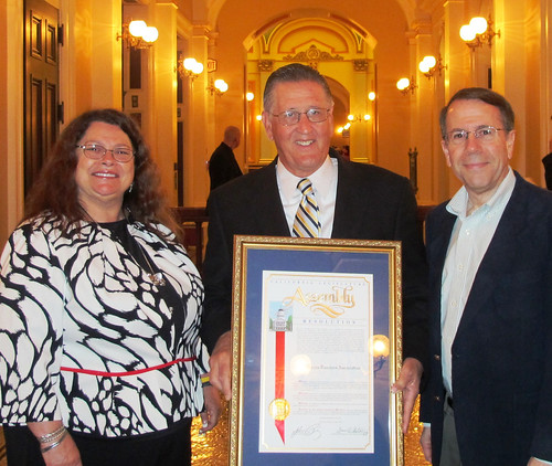 CTA Board member Dana Dillon, Alen Ritchie, a retired teacher & Rick Simpson, deputy chief of staff to Assembly Speaker John Perez (D-Los Angeles), display the resolution presented to the Association