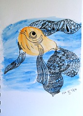 goldeen (NessaMcTastic) Tags: blue fish black watercolor gold goldfish zentangle