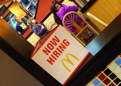 Now Hiring (JonathanBohemian23) Tags: girls sign kids children restaurant purple coat perspective mcdonalds hiring now leila