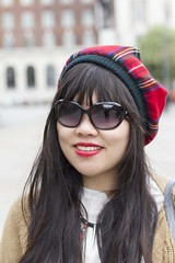 Stranger #066 (Zo0Bear) Tags: red portrait girl hat sunglasses lost chinese leeds may stranger 66 portraiture 100 19 humans tartan hol 2013 100strangers
