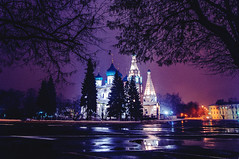 (Artyom Dyakiv) Tags: trees light sky church water night dark russia yaroslavl