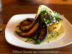 Portobello Roast (Bitter-Sweet-) Tags: food oregon dinner portland restaurant vegan lemon greens portobello parsley savory polenta umami diningout trattoria
