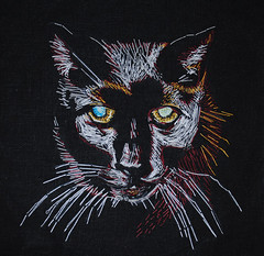 YOL9T ninth (carol powell) Tags: cats black art thread illustration cat blackcat drawing embroidery sewing carol powell yol9t