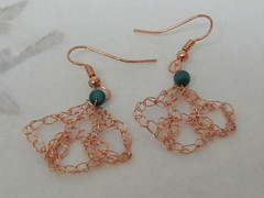 Copper lace Earrings with Malachite (cindycreativecrochet) Tags: green stone wire handmade lace crochet jewelry canadian bead earrings saskatchewan malachite cindyscreativecrochet