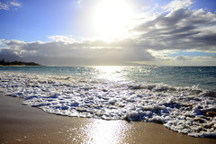 Maui Waui (KatieWhitaker) Tags: ocean blue sun mountain beach water beautiful clouds swimming island hawaii coast sand nikon aqua paradise waves pacific maui shore hawaiian tropical nikkor baldwinbeach