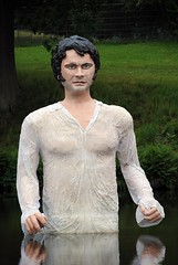 Mr. Darcy and his emergence from the lake (zawtowers) Tags: park white lake wet water statue colin gardens shirt hall tv pond cheshire mr pride scene national figure trust series drama emerging iconic darcy lyme firth prejudice disley lifelike