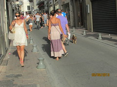 strolling in the sun (David Denny2008) Tags: cruise france river breasts boobs pert august babe curvy bust blonde provence cleavage avignon leggy sundress rhone bosoms braless nubile 2013