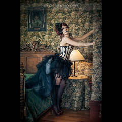 Swanny | Retro (dominikfoto) Tags: sexy castle beauty fashion vintage 50mm dance bed swan model bedroom chair nikon robe danse retro corset lit baroque bas juliette nylon cygne chaise fauteuil steampunk romantique sexygirl romantical romantisme fusina d3s fusinadominik