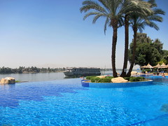 View of the Infinity Pool and River Nile, Jolie Ville Hotel, Luxor, Egypt (Andy_Hartley) Tags: africa travel pool egypt nile swimmingpool luxor infinitypool rivernile jolievillehotel flickrstruereflection1