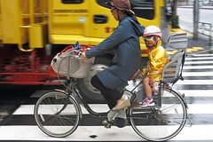 Urban Soccer Mom - Shibuya, Tokyo (TravelsWithDan) Tags: rain bicycle japan mom tokyo toddler candid shibuya raincoats soccermom bikeridingintherain