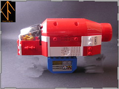 Transport Shuttle (Dead Frog inc.) Tags: fiction red moon white lego space science planet scifi spaceship fi sci spacecraft transporter moc
