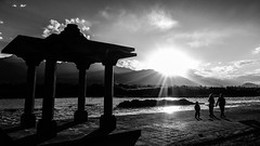sunset at Sindhu Ghat (BoXed_FisH) Tags: travel family sunset shadow blackandwhite bw india silhouette river asia fujifilm sindhu ladakh ghat x100