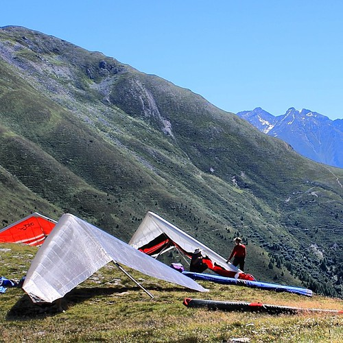 Hang-gliders at the Krahberg summit in Austria  #krahberg #summit , #Venet , #Fließ, #Landeck, #Zams , #Austria