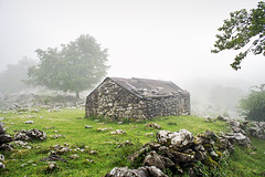 Borda (Mimadeo) Tags: morning light house mist mountain building tree home nature wet rain misty fog stone mystery architecture forest landscape countryside haze cabin outdoor farm farming hovel foggy hut rainy cover agriculture hazy shelter basque basquecountry refuge gorbea