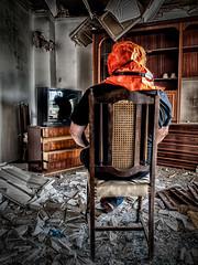 Alone in a strange world (Paco CT) Tags: barcelona man spain apartment mask decay ruina solo mascara apartamento esp hombre decadence sallent decadente 2013 pacoct