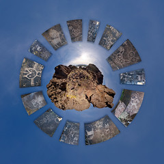 Horsethief Butte Surrounded by Some of Its Many Memories (Garret Veley) Tags: park panorama columbiariver wa petroglyph columbiagorge stitched 360x180 stereographic ptgui littleplanet horsethiefbutte canon1740mm canon5dmk2 garretveley promotecontrol washingtonestate