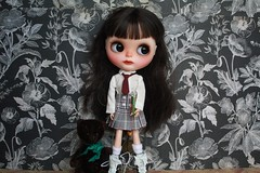 Sweet little rocker off to school. (umami_baby) Tags: dark punk doll vampire ooak goth blythe freckles collectible etsy brunette artdoll fashiondoll customizeddoll ophelia customblythe umamibaby