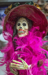 Pink Lady of Da de Muertos (Mike Matney Photography) Tags: pink canon dayofthedead march illinois midwest ceramics feather statues boa mexican alton 2014 dademuertos eosm