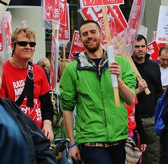 Smiling Demonstrators (sea turtle) Tags: guy green smile pine march protest 15 demonstration pinestreet 12thavenue 12th capitolhill minimumwage 15hour 15now