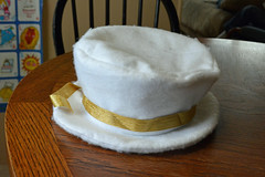 Felt Boy Angel Tophat, side (talenawinters) Tags: white angel gold costume sewing thrift tophat modernangel militaryjacket